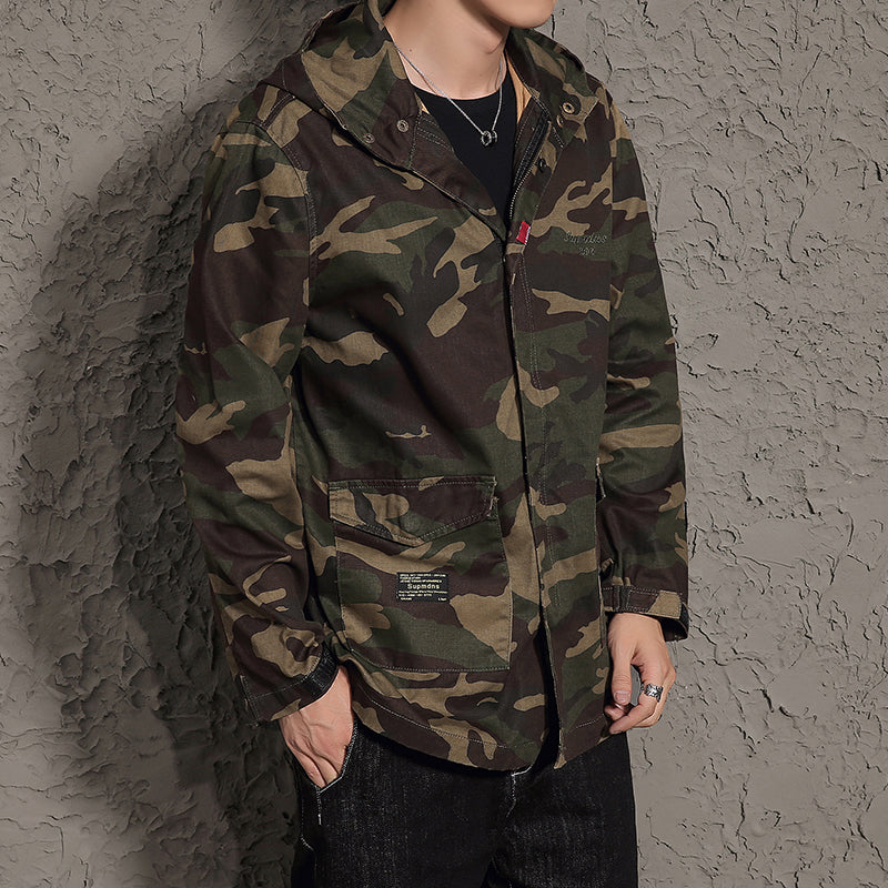 Autumn Long Slim Fit Trench Men Students Sweatshirt Loose Coats Camouflage Quality Jacket Military Tactical