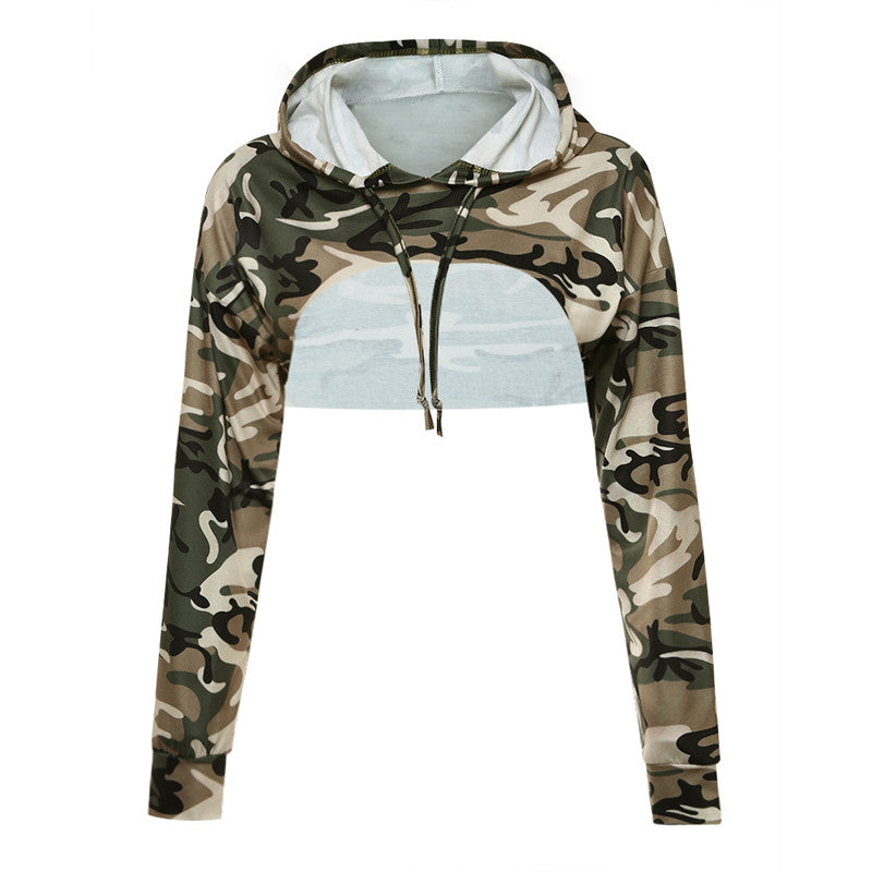 Camouflage Ladies Summer Tops Hooded Sweat Shirts Long Sleeve Women