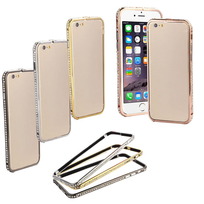 Crystal Rhinestone Diamond Metal Bumper Cell Phones Case Phone Accessories For iPhone 6 Plus 5.5Inch Back Cover Coque Capa