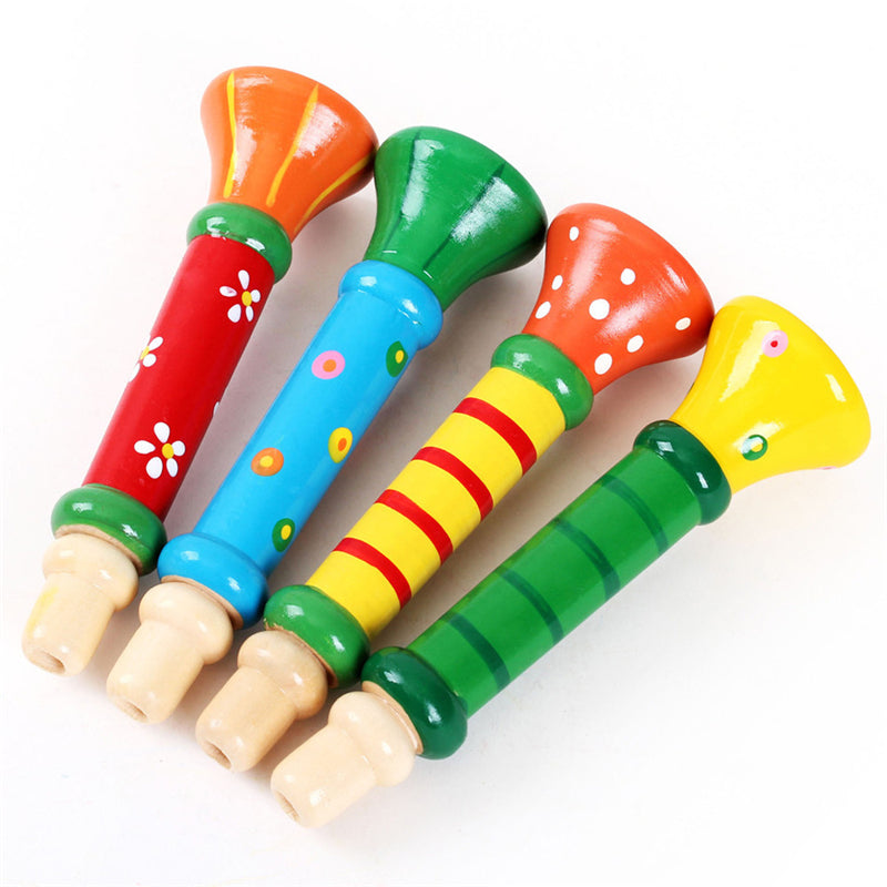 Costbuys  High Quality Multi-Color Baby kids Wooden Horn Hooter Trumpet Instruments Music Toys Great Educational Learning Toy Gi