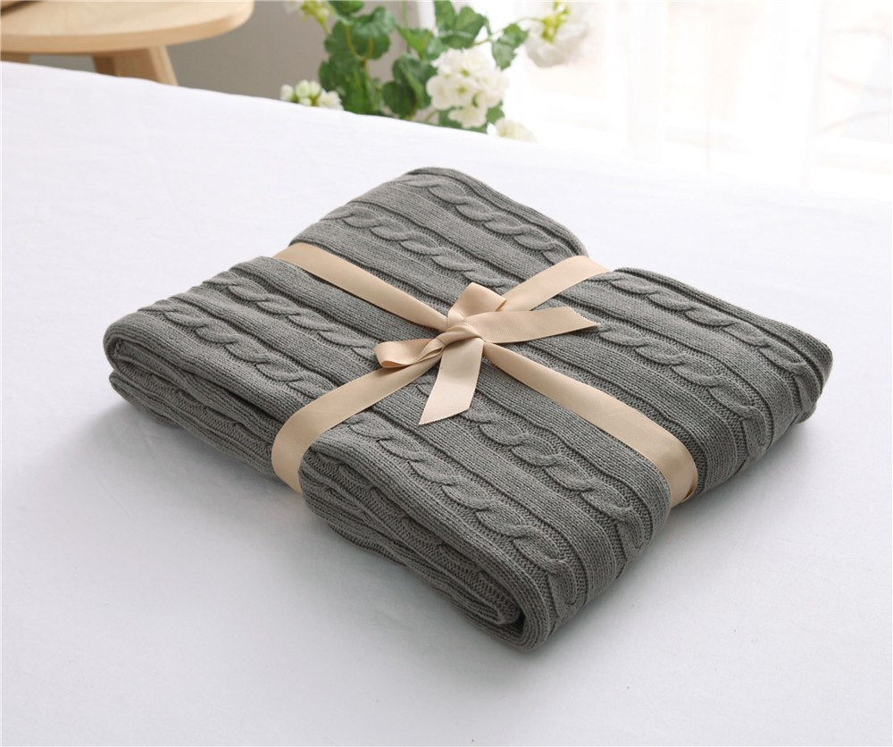 Costbuys  Knitted Blanket Bed Banket 100% Cotton Super Soft Blanket on the bed / Sofa Cover Blanket 110*180/200*180cm - As Photo