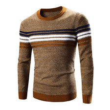 Pullover Men Round Neck Stripe Casual Clothing Skinny Style Men Sweater Cotton Slim Fit Pull Homme