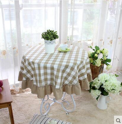 Costbuys  New Arrival Round Table Cloth Pastoral Style Cotton Table Cover Protector Home Textile Dining Table Linen Runners Toal