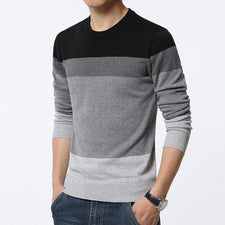 Autumn Fashion Casual Sweater Men O-Neck Striped Slim Fit Knitting Men's Sweaters Pullovers Male 4XL 5XL