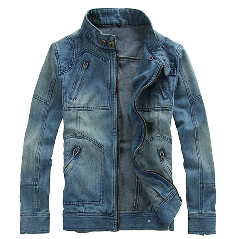 Autumn Mens Denim Jacket Coat Single Breasted Loose Fit Light Blue Men Outerwear Fashion Slim Fit Cotton Casual Coats