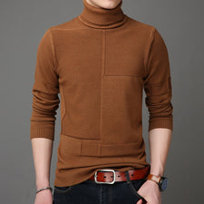 Autumn Winter Men Christmas Sweater Men's Turtleneck Solid Color Casual Sweater Men's Slim Fit Knitted Pullover