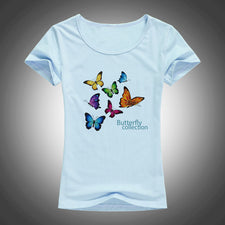 Beautiful Butterfly collection T Shirt Women Summer Short Sleeve T-Shirt lovely Tops Vogue Tee Shirt