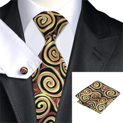 Design Mens Tie Set Gold Black Neck Ties Handkerchief Cufflinks Gravatas Silk Ties For Men Suit Print Neckties