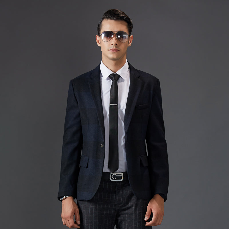 dd1865180533 Fashion Chinese Style Suit Jackets Men Classic Formal Wool Smart Casual  Solid Color Black Blazer Slim