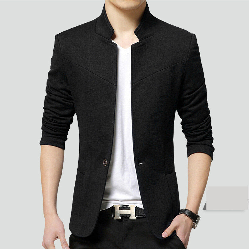 Costbuys  Men's Business Casual Suit Small Suit Single Jacket Men's Self-cultivation High-end Small Suit - black / XL