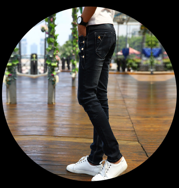Costbuys  Men's black Slim Jeans Fashion Skinny Elasticity Jeans Male Ripped Jeans for Men Clothing size 27-36 - black / 27