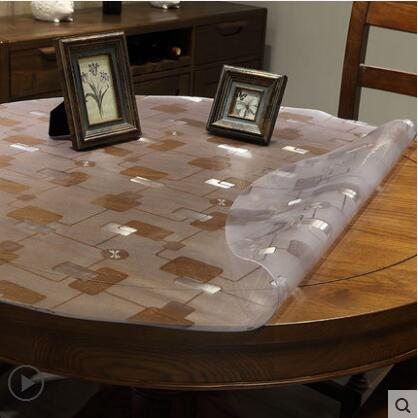 Costbuys  Round Table Cloths Home Dining Room Tablecloth Disposable PVC Table Runner Waterproof Table Cover 1.5mm Thick - 4 / Di