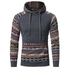 Style Men Hoodies Fashion Hoodies & Sweatshirts Casual Ethnic Style Pattern Print Fitness hoody coat Jacket 3XL