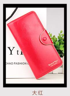 Costbuys  New Women Long Wallets Soft Oil Wax Pu Leather Zipper Hasp Three Folds Ladies Clutch Female Long Coin Purse Card Holde