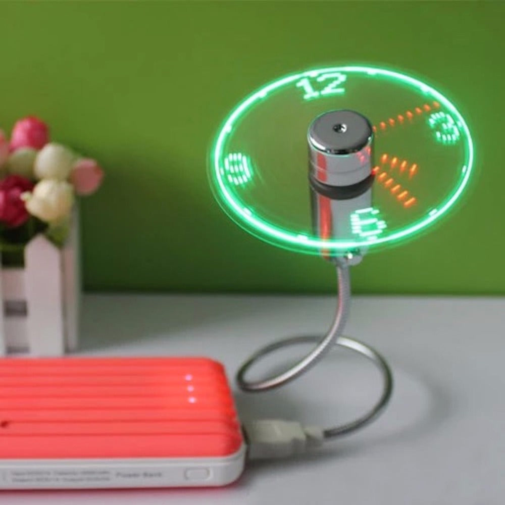 Costbuys  Newest Durable Selling USB Mini Flexible Time LED Clock Fan with LED Light - Cool Gadget Keep Cool and Time Display