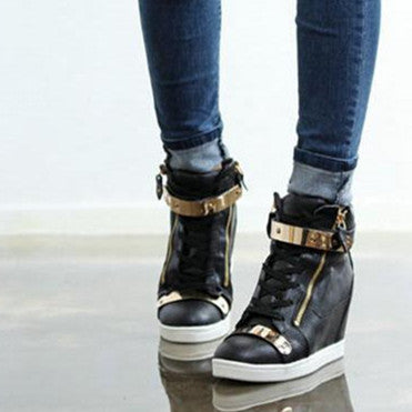17c48f70c099 Spring Autumn Style Shoes For women sneakers high top PU leather wedge  Casual Shoes women high heels shoes black white