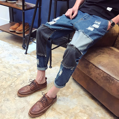 Costbuys  Ripped Jeans for Men High Quality Oversized Male Denim Jumpsuit Casual Patchwork Mens Jeans Pants - 11 / 31