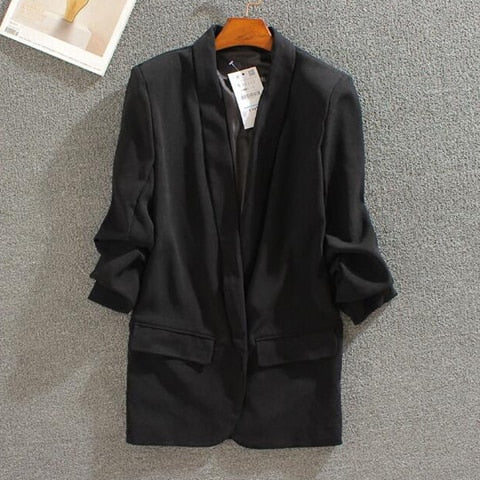 Costbuys  Women Elegant Work Blazer White Coat Casual Mid Long Office Suit Jacket Blazer - Black / L