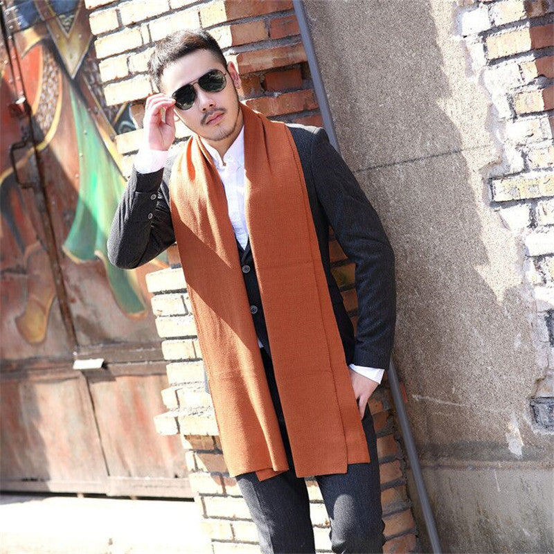 Wool Winter Warm Cashmere Scarves Men Printing Shawl Wraps Luxury Best Quality Pure Color Warm Scaves