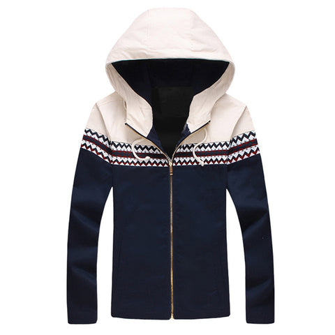 Men New Jacket Spring Autumn Fashion Hiphop Hooded Jacket Patchwork Hip Hop Windbreaker Men Thin Jacket Coat Outerwear