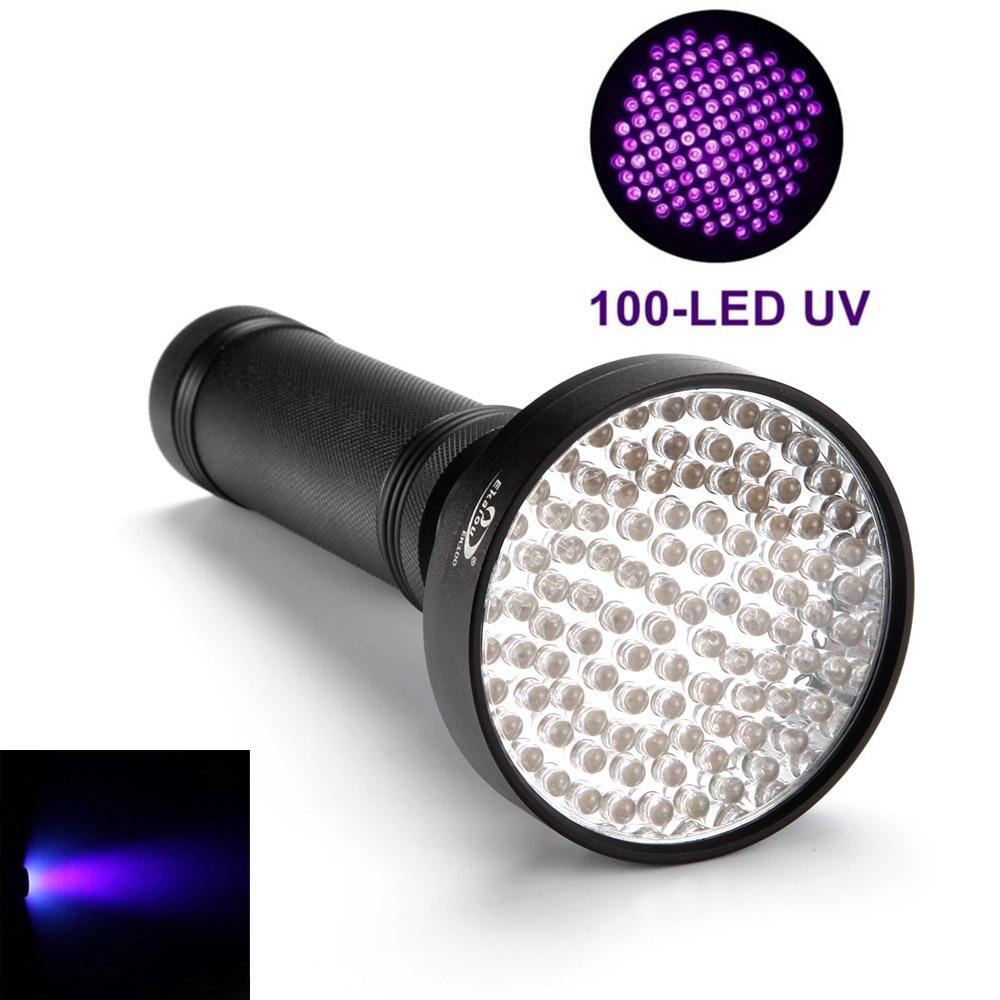 Costbuys  Portable 100 LED UV Flashlight Handheld Ultraviolet Black Torch Light For Finding Pet Dog and Cat Urine Stain Phosphor