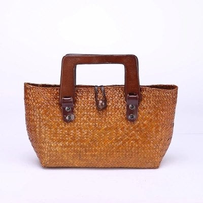 Costbuys  New retro grass package Thai version of the hand-woven hand-held women's grass grass package package beach bag Top-Han