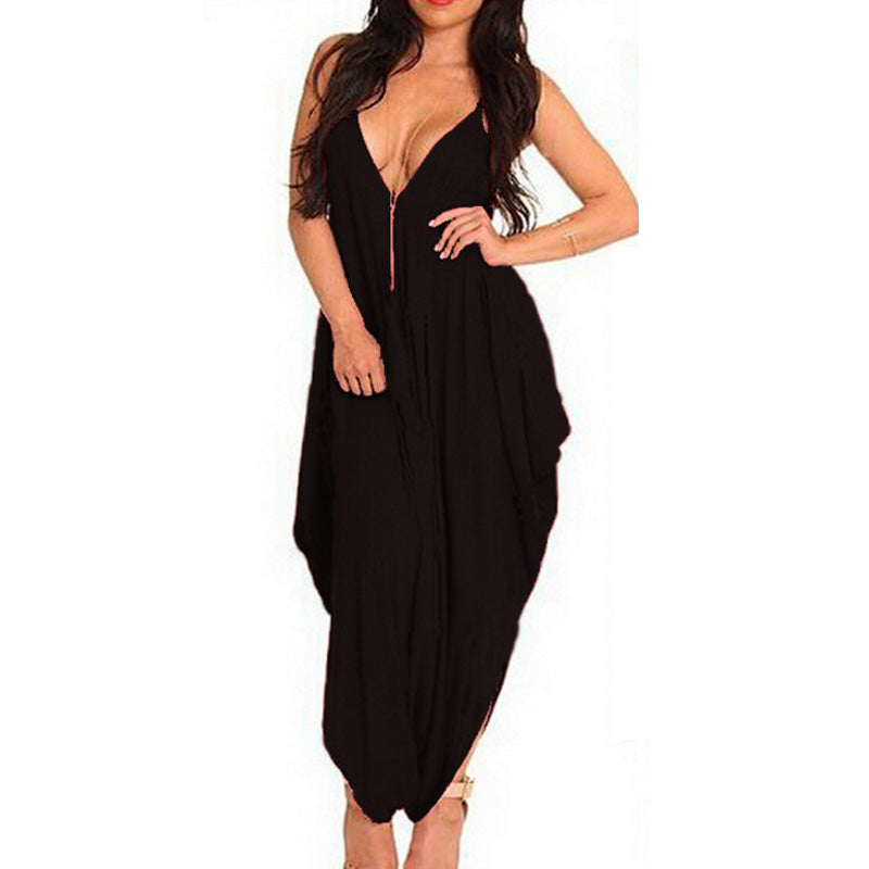Spaghetti Strap v neck Backless Sexy club party Women Long Jumpsuits big size Wide Leg Harem Pants Black overalls
