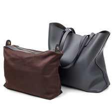 2PC Set Big Female Handbag High Quality Leather Women Bag Large Capacity Bucket Women Shoulder Bags Casual Tote Top-Handle