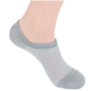 Costbuys  5 pairs high quality summer men socks short socks mesh breathable invisible boat socks for men - Light Gray / One Size