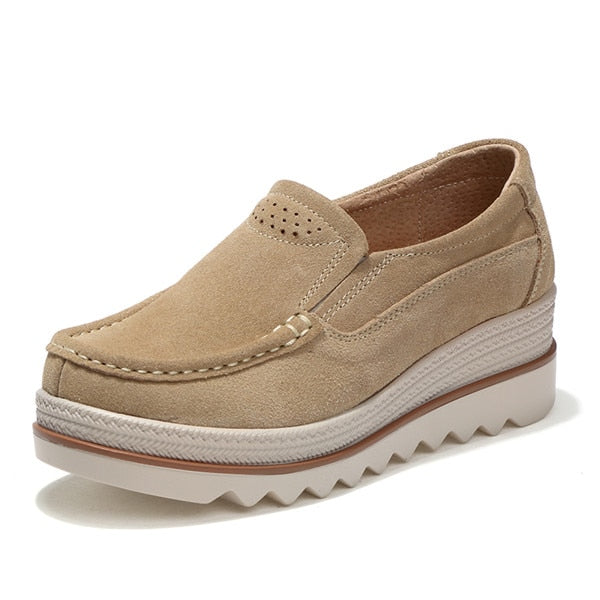 Costbuys  Women platform shoes slip on sneakers Leather Suede casual shoes flat heels Creepers moccasins Shoes Woman - beige / 1