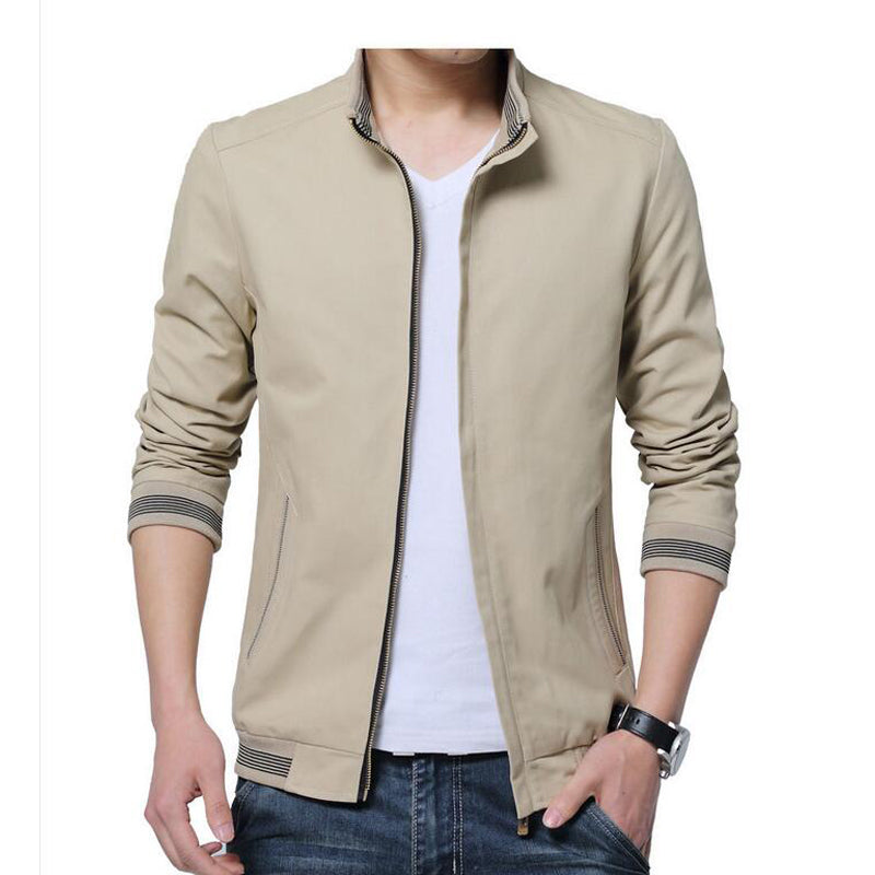 Spring Autumn Men Casual Jacket Coat Men's Fashion Washed 100% Pure Cotton Jackets Male Coats