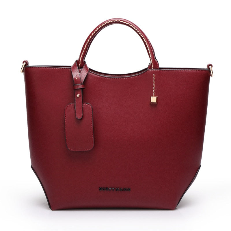 Costbuys  Female high quality artificial leather tote bag fashion top-handle bag handbag women large bucket shoulder bag - wine