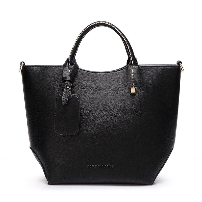 Costbuys  Female high quality artificial leather tote bag fashion top-handle bag handbag women large bucket shoulder bag - black