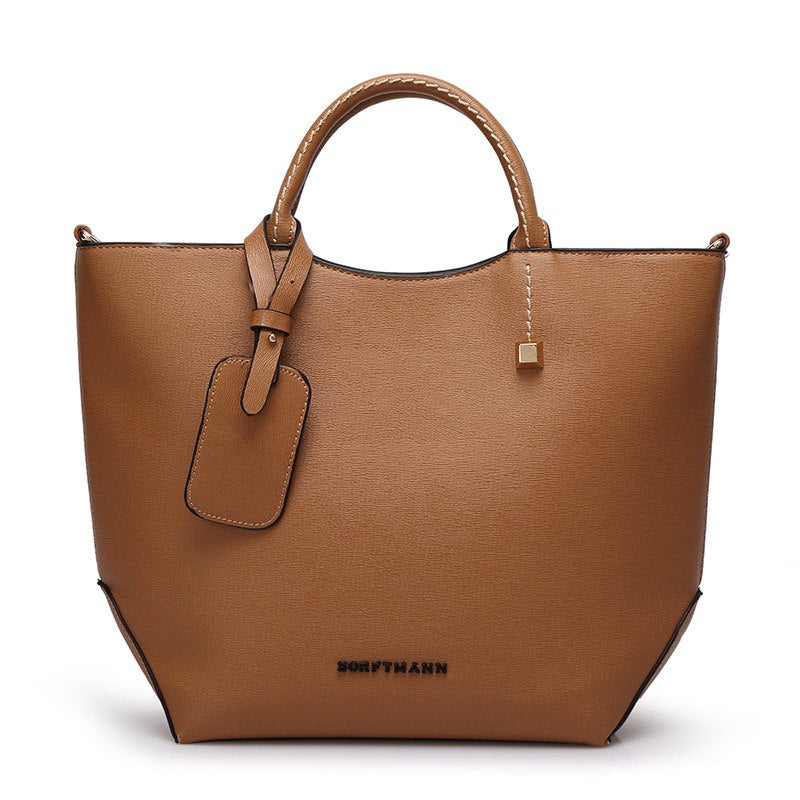 Costbuys  Female high quality artificial leather tote bag fashion top-handle bag handbag women large bucket shoulder bag - brown