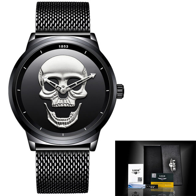 Costbuys  Cool Punk 3D Skull Men Watch Luxury Steel Quartz Male Watches Waterproof Retro Fashion Gold Black Clock Relogio - blac