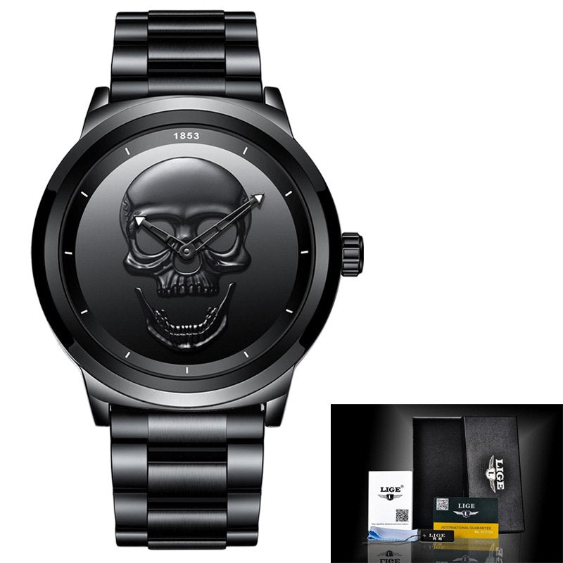 Costbuys  Cool Punk 3D Skull Men Watch Luxury Steel Quartz Male Watches Waterproof Retro Fashion Gold Black Clock Relogio - stee
