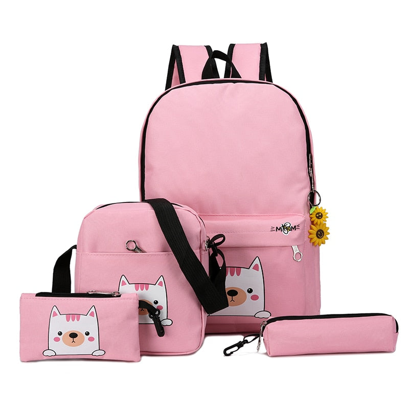 Costbuys  Fashion 4cs/set Canvas Women Backpack Schoolbag Cute Cat School Bag Backpacks for Teenage Girls Daypack Rucksack - Pin