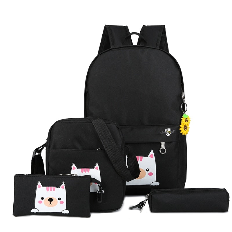 Costbuys  Fashion 4cs/set Canvas Women Backpack Schoolbag Cute Cat School Bag Backpacks for Teenage Girls Daypack Rucksack - Bla