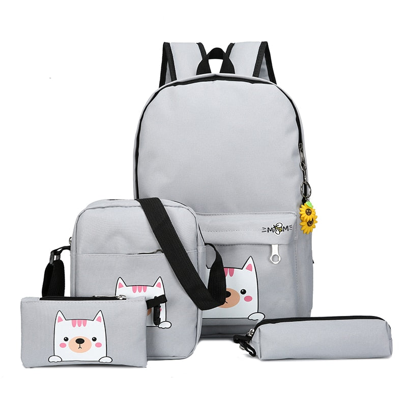Costbuys  Fashion 4cs/set Canvas Women Backpack Schoolbag Cute Cat School Bag Backpacks for Teenage Girls Daypack Rucksack - Gra