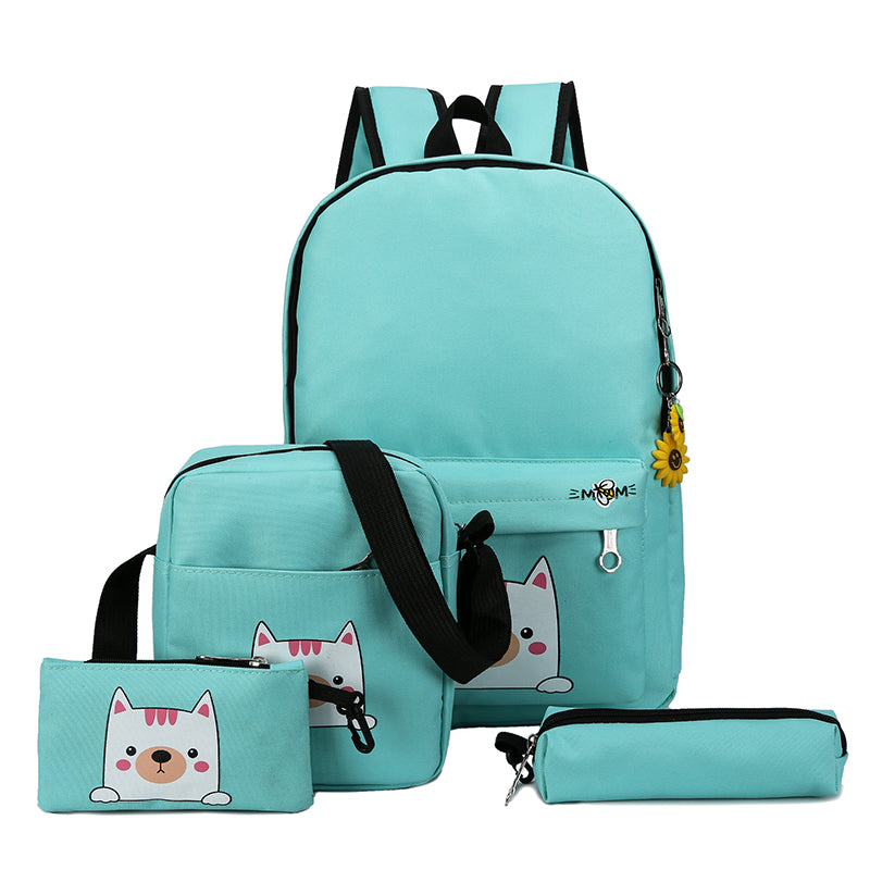 Costbuys  Fashion 4cs/set Canvas Women Backpack Schoolbag Cute Cat School Bag Backpacks for Teenage Girls Daypack Rucksack - Gre