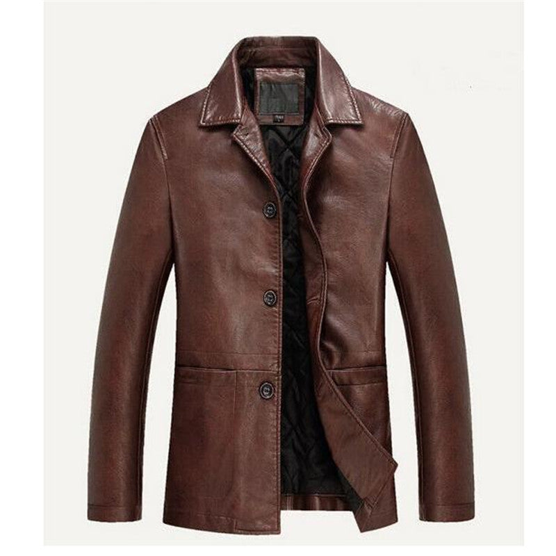 Costbuys  Fashion Winter Men Pu Collar Bomber Jacket Mens Faux Leather Jacket Breathable Jacket - 1 / XL