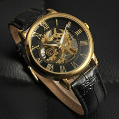 Mechanical Watch Saat Man Hour Clock Classic Roman numerals Luxury Brand Skeleton Wrist Watch Business Clock