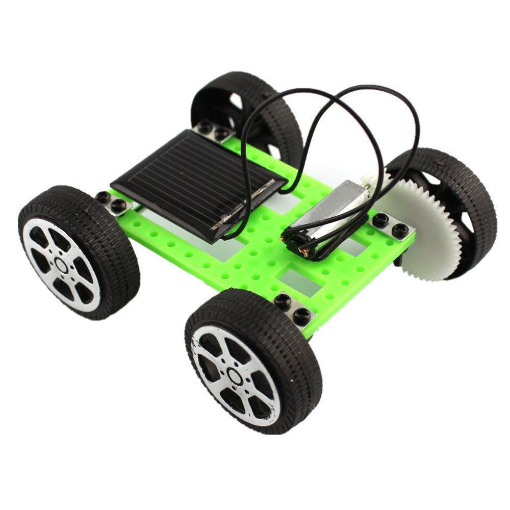 Costbuys  Good Quality 1 Set Mini Solar Powered Toy DIY Car Kit Kids Educational Gadget Hobby Funny Solar Energy - Green