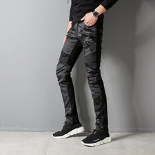 0c059fa75ba Higt Street Fashion Men s Jeans Black Color Slim Fit Hip Hop Jeans Stretch  Camouflage Patchwork Pants