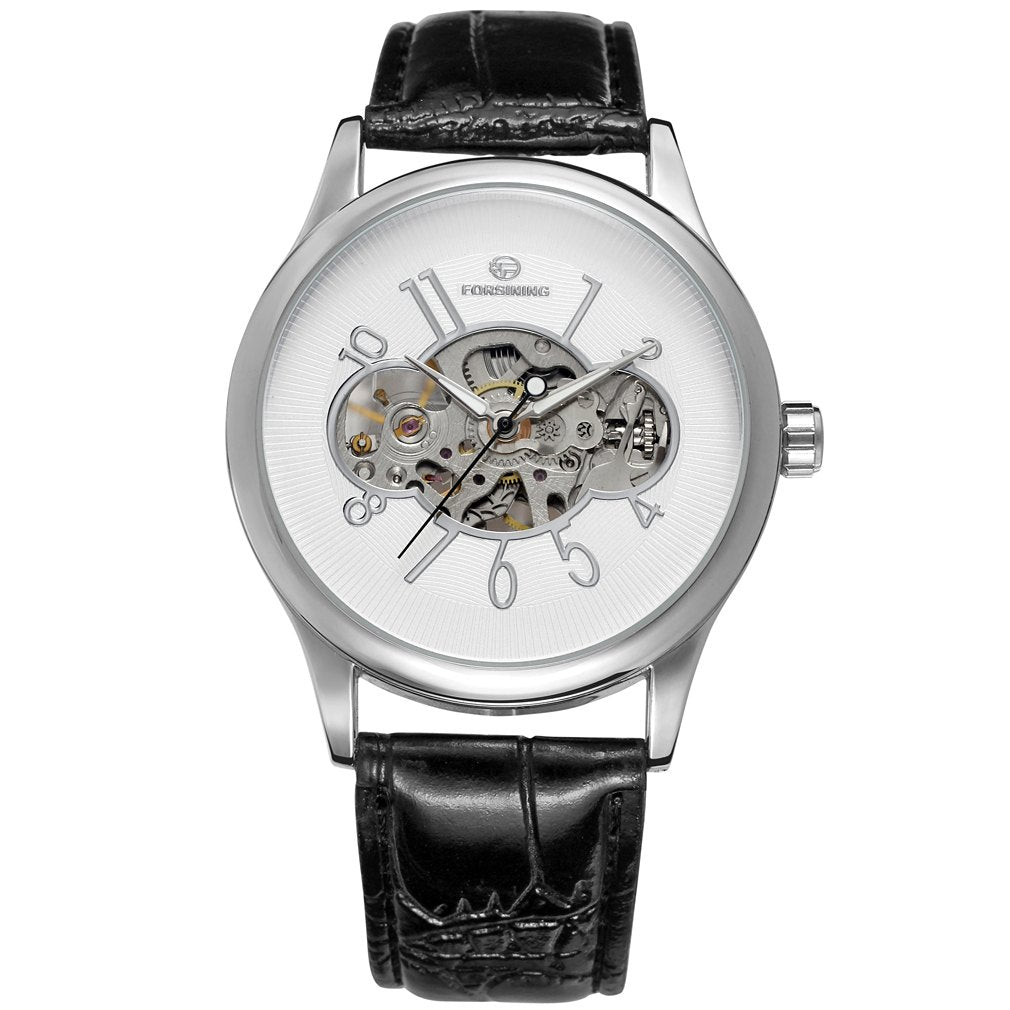 Costbuys  Men Mechanical Watch Male Skeleton Forsining Wristwatch Black Leather New Business Style Good Gift - Red