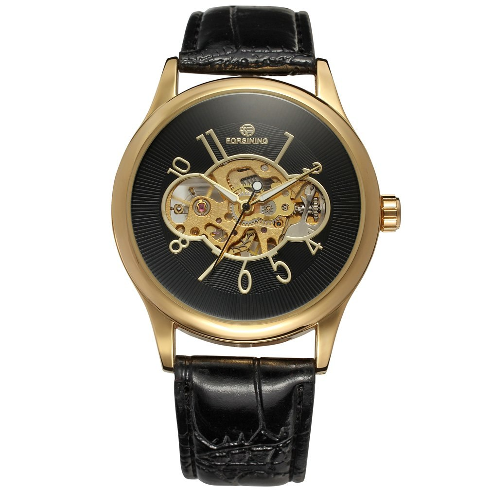 Costbuys  Men Mechanical Watch Male Skeleton Forsining Wristwatch Black Leather New Business Style Good Gift - Pink
