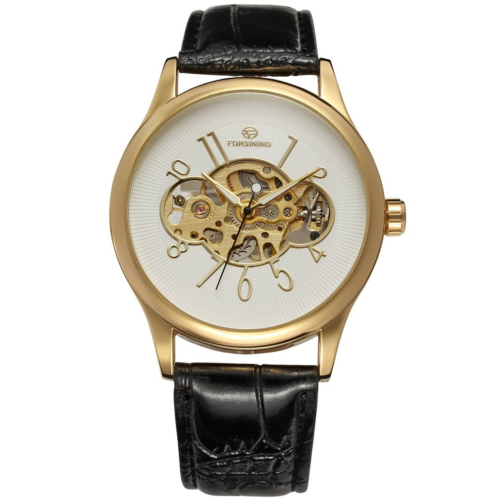 Costbuys  Men Mechanical Watch Male Skeleton Forsining Wristwatch Black Leather New Business Style Good Gift - Ivory