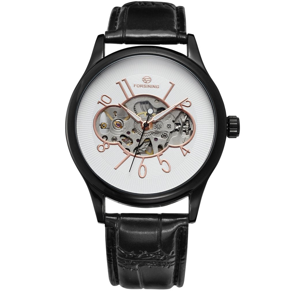 Costbuys  Men Mechanical Watch Male Skeleton Forsining Wristwatch Black Leather New Business Style Good Gift - Gold