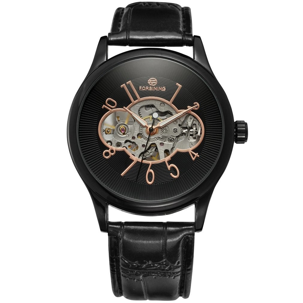 Costbuys  Men Mechanical Watch Male Skeleton Forsining Wristwatch Black Leather New Business Style Good Gift - Brown
