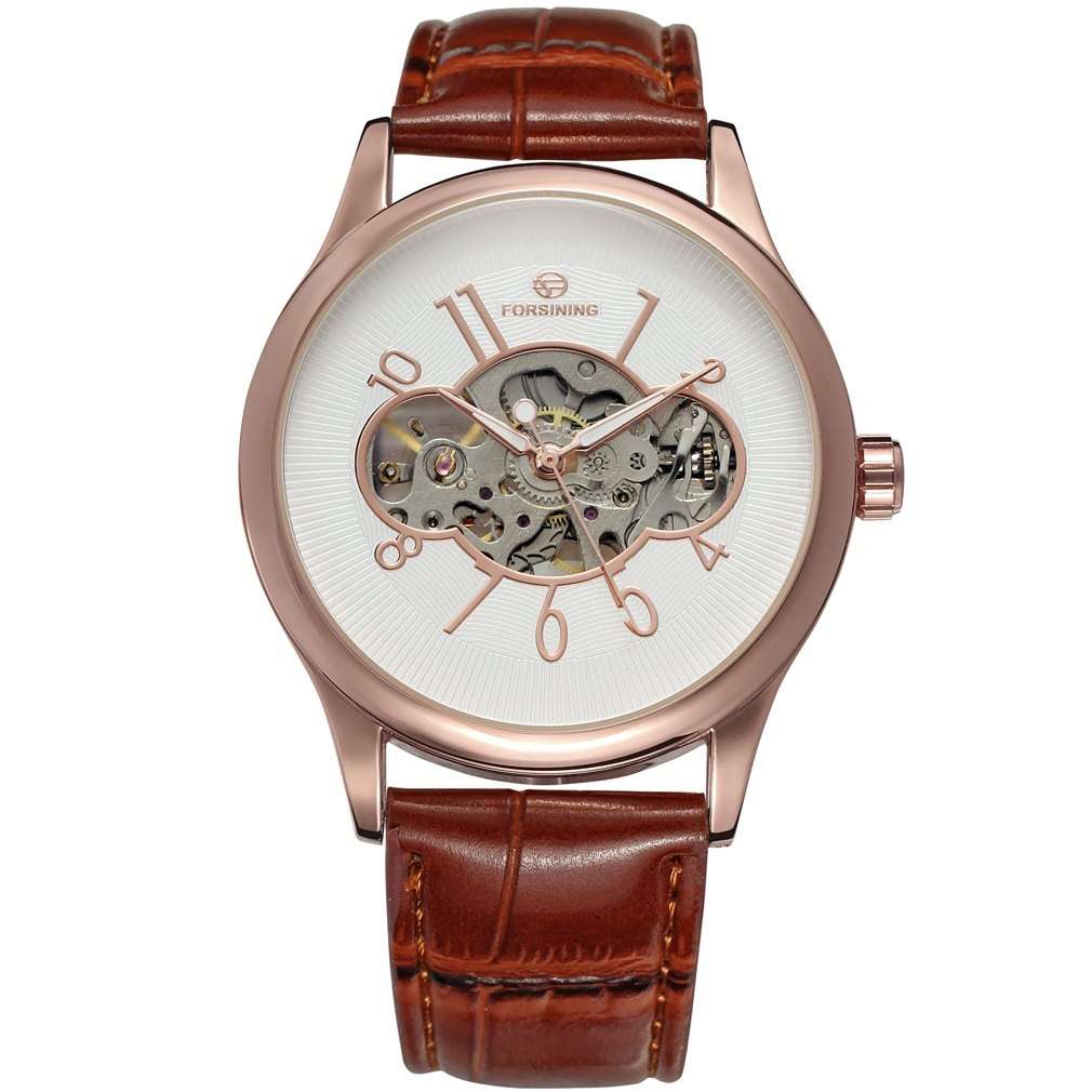 Costbuys  Men Mechanical Watch Male Skeleton Forsining Wristwatch Black Leather New Business Style Good Gift - Multicolor